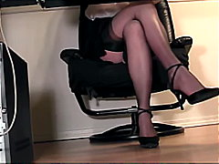 lingerie, voyeur, fetish, secretary, heels, stockings, shaved, hidden, masturbation