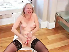 Horny housewife deep dildo in kitchen