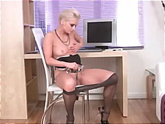 mom, stockings, mature, vibrator,