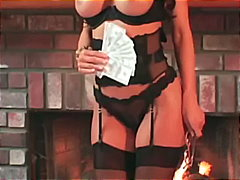 Busty milf teases in stockings a gart...