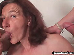 handjob, old, granny, threesome