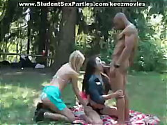 Three sexy student gir...