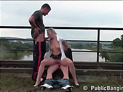 group-sex, public, double-blowjob