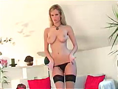 milf, stripping, blonde, stockings, heels, nylons, panties, lingerie, pussy