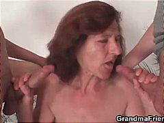 Two young painters bang nude granny