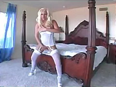 Keez Movies Movie:Blonde in a chemise garter bel...