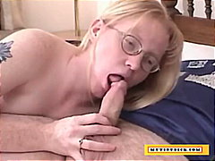 milf, blowjob, blonde, glasses, mom,