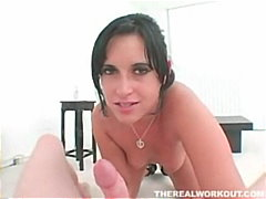 Cuban sucking her trainers cock