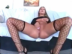 masturbation, shaved, fingering, fishnet, pornstar, panties, heels, solo, lingerie, small-tits, stockings, nylons, pussy, milf