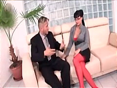 Secretary Aletta Ocean in red lingeri...