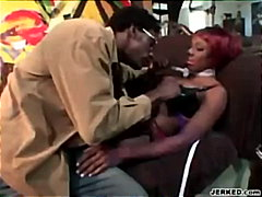 Red-Head Ebony Blows Cock video