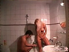 euro, blonde, amateur, bathroom, blowjob