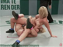 Two blondes wrestle it... video
