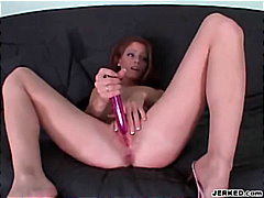 Thumb: Babe masturbates and s...