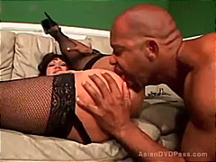 Asian milf sucks a hug... video