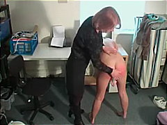 Masturbating blonde gets spanked by mom