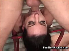 deepthroat, skinny, blowjob, facial, brunette, tits, handjob, gagging, face, cumshot