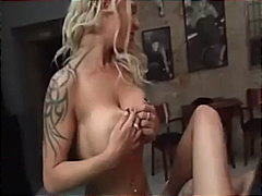cumshot, tattoo, blonde, milf