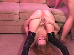 Fiery Redhead Audrey Hollander DPed In Black Bitch Boots