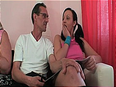 Horny young brunette bitch joining gr...
