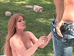 mom, huge tits, big boobs, shaved pussy, blowjob, pussy licking, busty, outdoor