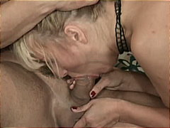 mom, platinum blonde, shaved pussy, big cock, big boobs, cowgirl, reverse cowgirl