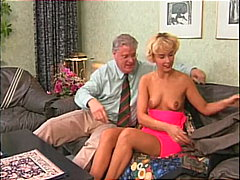 Cute blonde girl sucks old guy's cock...