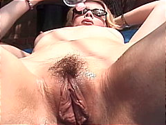 shaved pussy, old man young woman, pussy licking, interracial, platinum blonde, pantyhose, outdoors, young, rough fuck, doggy style