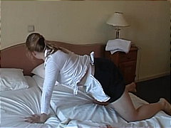 Hot brunette maid pounded hard by a perverted dude