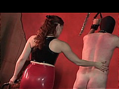 Mistress gemini whips her slave on th...