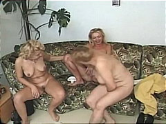 platinum blonde, 3some, granny, shaved pussy