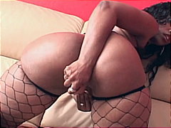 masturbating, big ass, fishnets,