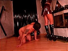 slave, bondage, brown hair, doggy style, latex, mistress
