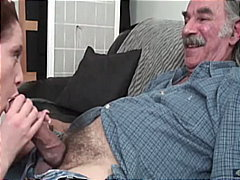 old man young woman, big cock, deepthroat, gagging, beauty