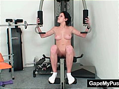 Busty babe rita pervy exercises and s...