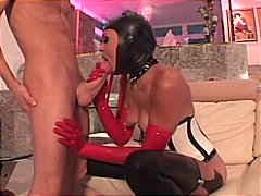 Sexy ebony anal diva in hot latex outfit