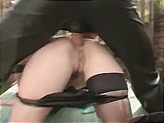 Nastiest outdoor ass fuck for caged b...