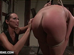 slave, bondage, painful, brown hair,