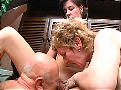 Horny old dude loves mom and daughter...