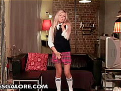 Cute blonde school girl solo pussy an...