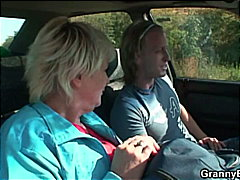 Blonde Granny fucked by young driver