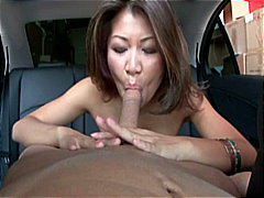 oriental, brown hair, blowjob, car, beauty, facial