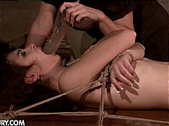 Mistress ties up hot slave
