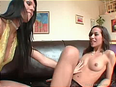 Two lesbian babes are hot in this fre...