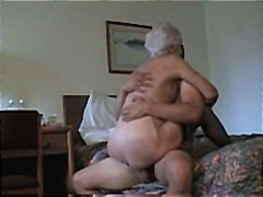 Horny white haired granny gets pounde...