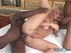 threesome, interracial, boobs, blonde