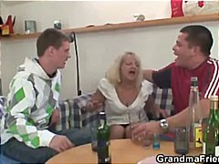 Blonde granny gets drunk and sucks an...