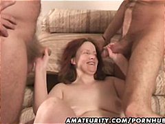 Mature amateur wife is in a gangbang ...