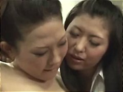 Japanese lesbian boss fingers her worker and gets her pussy licked