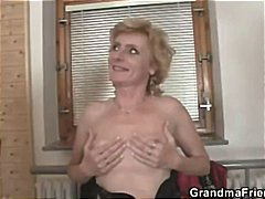 Blonde granny gets manhandled by two dudes and gets pussy nailed